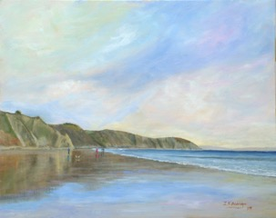 """Walking Gorran haven Beach"" an oil painting courtesy and copyright of Jeff Aldridge."